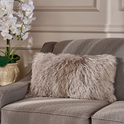 Kingstowne Fur Lumbar Pillow Color: Light Gray
