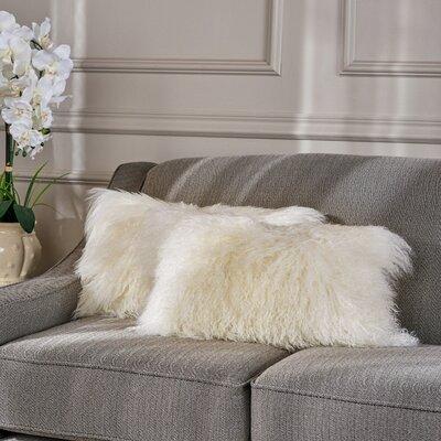 Kingstowne Fur Lumbar Pillow Color: Ivory