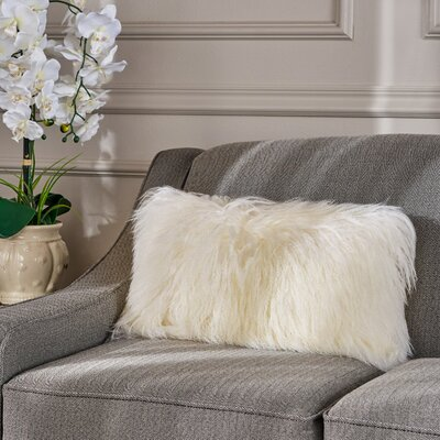 Kingstowne Fur Lumbar Pillow Color: Ivory