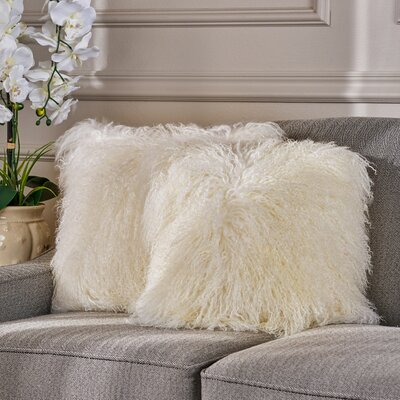 Kingstowne Shaggy Lamb Fur Throw Pillow Color: Ivory, Size: 16 x 16
