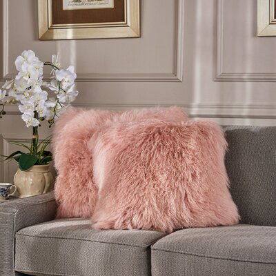 Kingstowne Shaggy Lamb Fur Throw Pillow Color: Rose, Size: 20 x 20