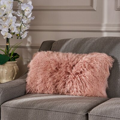 Kingstowne Fur Lumbar Pillow Color: Rose