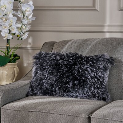 Kingstowne Fur Lumbar Pillow Color: Black Snow