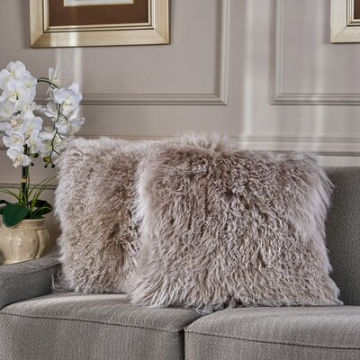 Kingstowne Shaggy Lamb Fur Throw Pillow Color: Stone Gray, Size: 16 x 16