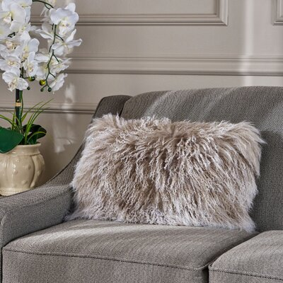 Kingstowne Fur Lumbar Pillow Color: Stone Gray