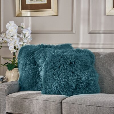 Kingstowne Shaggy Lamb Fur Throw Pillow Color: Blue, Size: 20 x 20