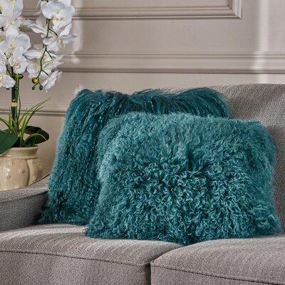 Kingstowne Shaggy Lamb Fur Throw Pillow Color: Dark Teal, Size: 16 x 16