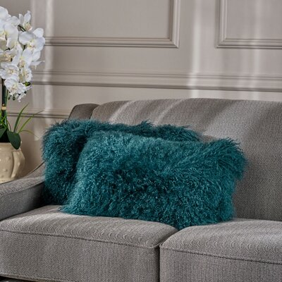 Kingstowne Fur Lumbar Pillow Color: Dark Teal
