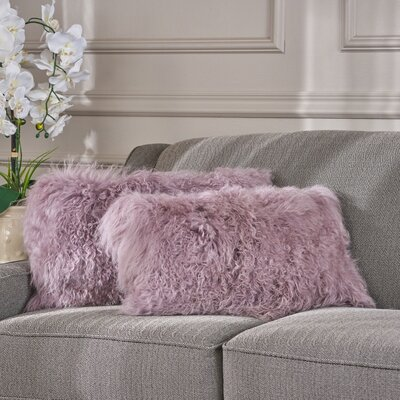 Kingstowne Fur Lumbar Pillow Color: Light Purple