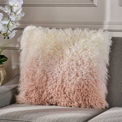 Kingstowne Shaggy Lamb Fur Throw Pillow Color: Ivory Rose, Size: 20 x 20