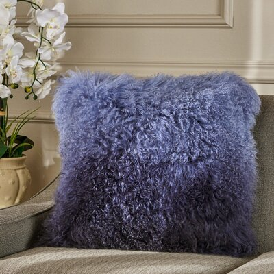 Kingstowne Shaggy Lamb Fur Throw Pillow Color: Blue Ombrey, Size: 20 x 20