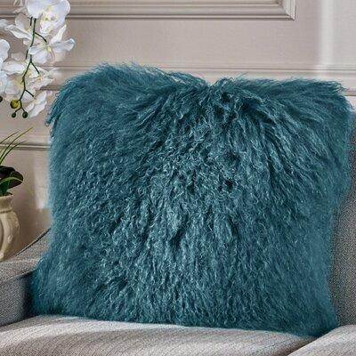 Kingstowne Shaggy Lamb Fur Throw Pillow Color: Blue, Size: 20 x 20