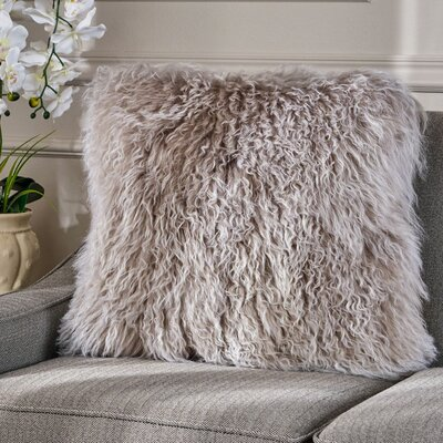 Kingstowne Shaggy Lamb Fur Throw Pillow Color: Stone Gray, Size: 20 x 20