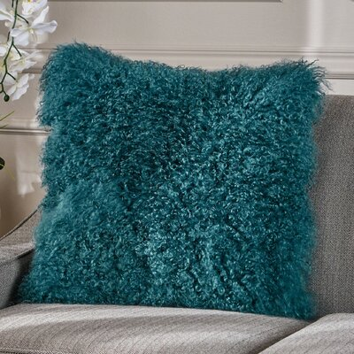 Kingstowne Shaggy Lamb Fur Throw Pillow Color: Dark Teal, Size: 16 x 16