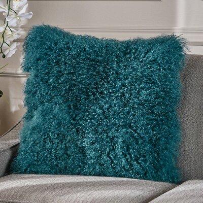 Kingstowne Shaggy Lamb Fur Throw Pillow Color: Dark Teal, Size: 20 x 20
