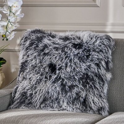 Kingstowne Shaggy Lamb Fur Throw Pillow Color: Black Snow, Size: 16 x 16