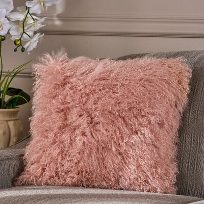 Kingstowne Shaggy Lamb Fur Throw Pillow Color: Rose, Size: 16 x 16