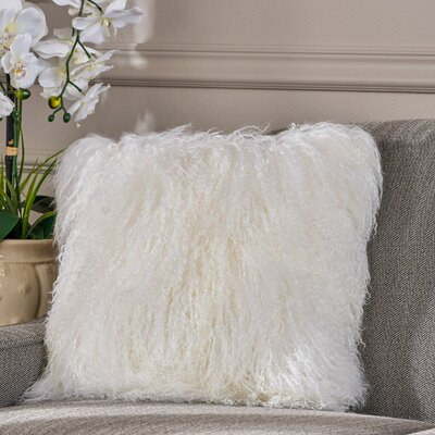 Kingstowne Shaggy Lamb Fur Throw Pillow Color: Ivory, Size: 20 x 20