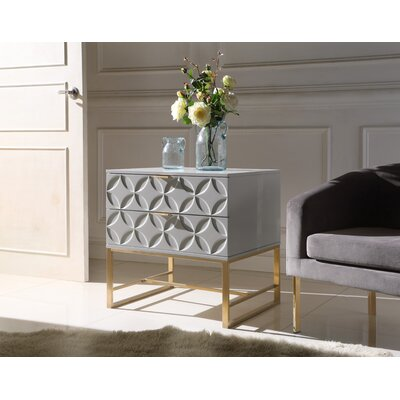 Dollison 2 Drawers Nightstand Color: Gray