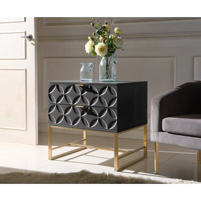 Dollison 2 Drawers Nightstand Color: Black