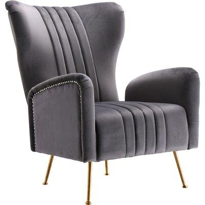 Pamila Velvet Wingback Chair Upholstery: Gray
