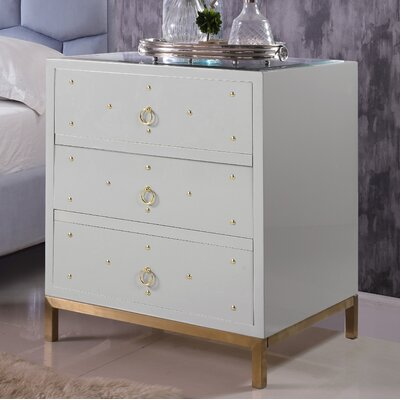 Dolson 3 Drawer Nightstand Color: Gray