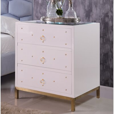 Dolson 3 Drawer Nightstand Color: White