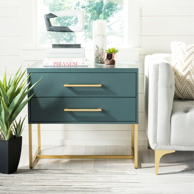 Ally 2 Drawer Nightstand Color: Steel Teal