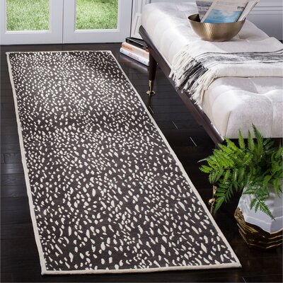Ankit Hand Tufted Dark Grey/Ivory Area Rug Rug Size: Runner 23 x 8