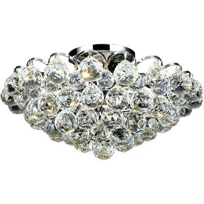 Ranee 4-Light Semi Flush Mount Fixture Finish: Chrome, Crystal Grade: Spectra Swarovski