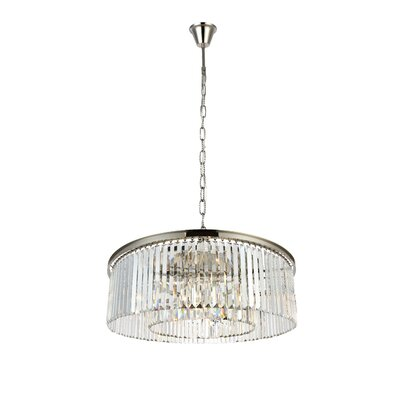 Lavinia 10-Light Drum Pendant Finish: Polished Nickel, Crystal: Crystal (Clear)