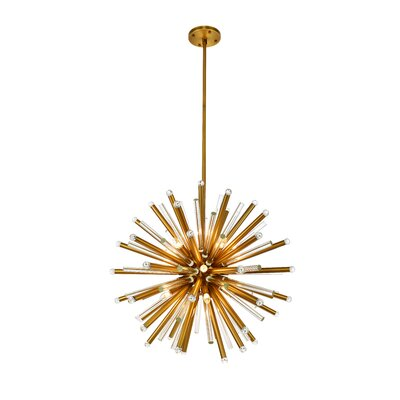 Pavie 21-Light Sputnik Chandelier Finish: Burnished Brass, Size: 80 H x 36 W x 36 D