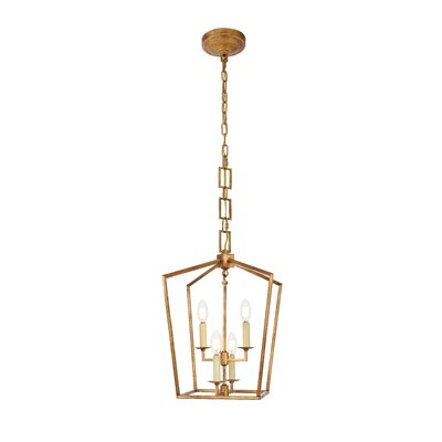 Isoline 4-Light Foyer Pendant Finish: Golden Iron, Size: 26 H x 17 W x 17 D