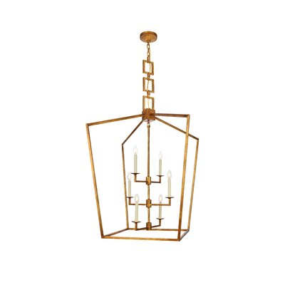 Isoline 6-Light Foyer Pendant Finish: Golden Iron, Size: 43.5 H x 29 W x 29 D