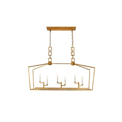 Isoline 6-Light Candle-Style Chandelier Finish: Golden Iron