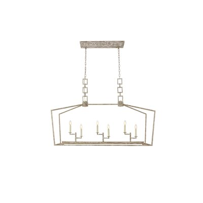 Isoline 6-Light Candle-Style Chandelier Finish: Ivory Wash
