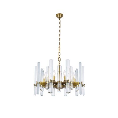 Raelene 10-Light Candle-Style Chandelier Finish: Burnished Brass, Size: 88.97 H x 30 W x 30 D