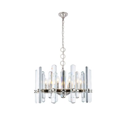 Raelene 10-Light Candle-Style Chandelier Finish: Polished Nickel, Size: 88.97 H x 30 W x 30 D