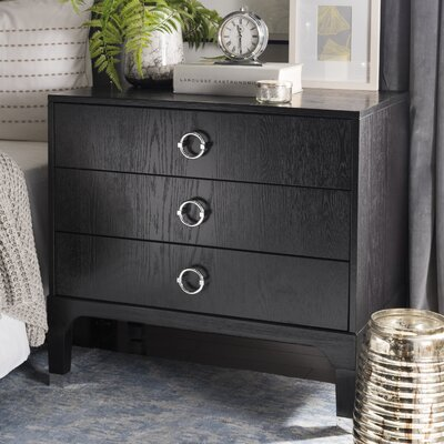 Daniella 3 Drawer Nightstand Color: Black