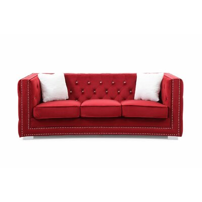 Smollin Chesterfield Sofa Upholstery: Red