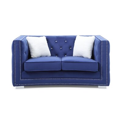 Smollin Chesterfield Loveseat Upholstery: Blue