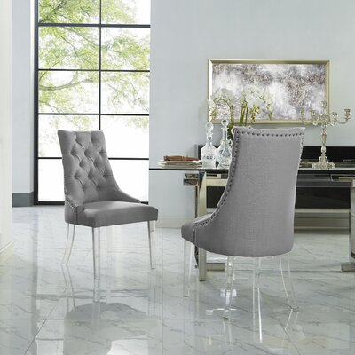 Hannatou Upholstered Dining Chair Upholstery Color: Linen Light Gray