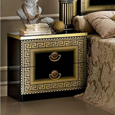 Albury 2 Drawer Nightstand Finish: Black/Gold