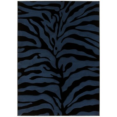 Esteban Hand-Carved Blue/Black Area Rug Rug Size: 8 x 11