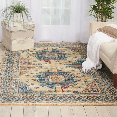Landen Ivory/Blue Area Rug Rug Size: Rectangle 53 x 73
