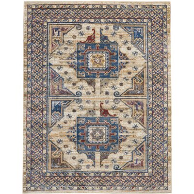 Landen Ivory/Blue Area Rug Rug Size: Rectangle 710 x 106