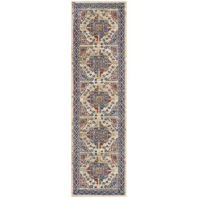 Landen Ivory/Blue Area Rug Rug Size: Runner 22 x 76