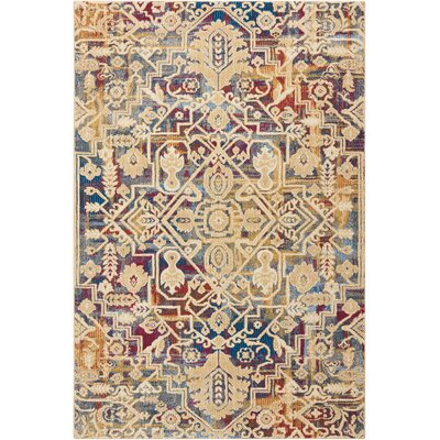 Landen Beige/Blue Area Rug Rug Size: Rectangle 53 x 73