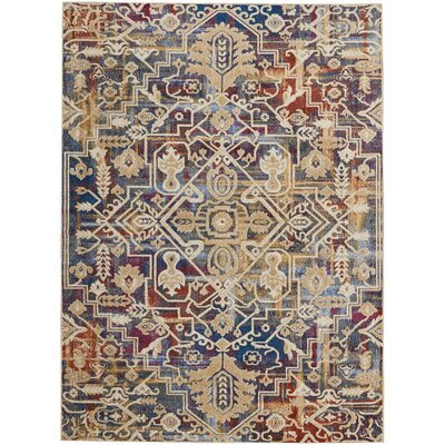 Landen Beige/Blue Area Rug Rug Size: Rectangle 710 x 106