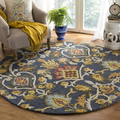 Elford Hand-Tufted Wool Navy Area Rug Rug Size: Round 6